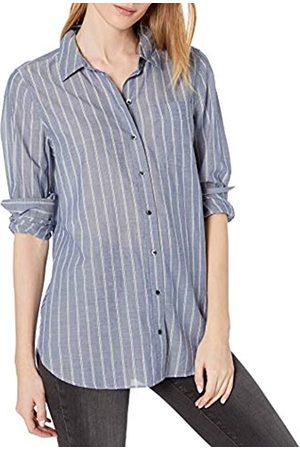 Goodthreads Mujer Blusas - Cotton Dobby Long-Sleeve Button-Front Tunic Shirt Shirts, Doble Rayas índigo/