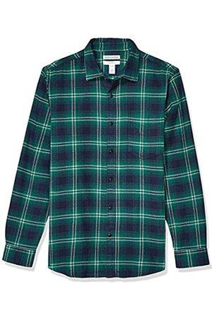 Amazon Hombre Casual - Camisa de franela a cuadros, manga larga, ajustada, para hombre