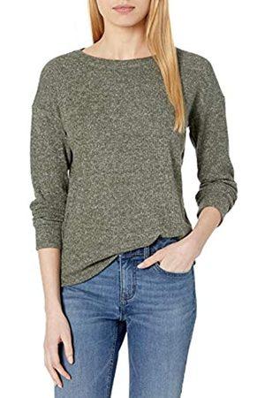 Daily Ritual Cozy Knit Rib Long-Sleeves Drop-Shoulder Open Crewneck Sweatshirt Camisa