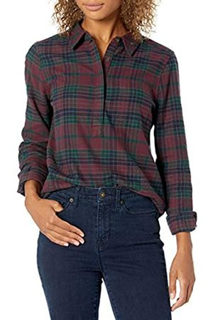 Goodthreads Mujer Casual - Brushed Flannel Popover Shirt Dress-Shirts, Burgundy/Deep Emerald Grid Plaid