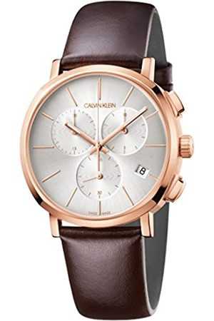 Calvin Klein Reloj Cronógrafo para Hombre de Cuarzo con Correa en Cuero K8Q376G6