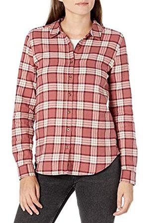 Goodthreads Mujer Blusas - Brushed Flannel Drop-Shoulder Long-Sleeve Shirt Button-Down-Shirts, Dark Rose/ Plaid