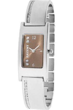 Akzent 185127000002 - Reloj analógico de mujer de cuarzo con correa de aleación plateada - sumergible a 30 metros