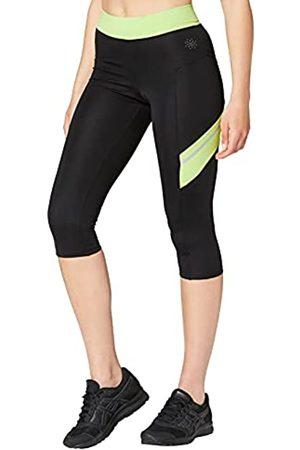 AURIQUE Mujer Leggings y treggings - Marca Amazon - Contrast Panels BAL004, Mallas de entrenamiento Mujer, Multicolor (Black/Lime)