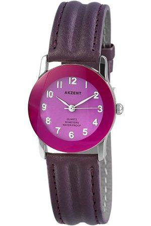 Akzent Mujer Relojes - SS7323900023 - Reloj analógico de mujer de cuarzo con correa de piel negra - sumergible a 30 metros
