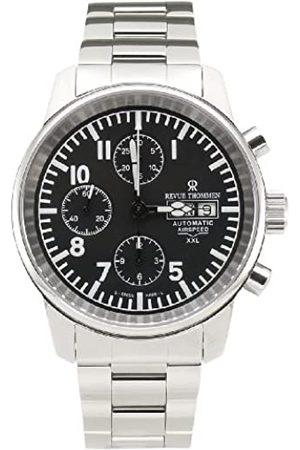 Revue Thommen Airspeed Aviator Chronograph - Reloj cronógrafo de caballero automático con correa de acero inoxidable plateada (cronómetro) - sumergible a 50 metros