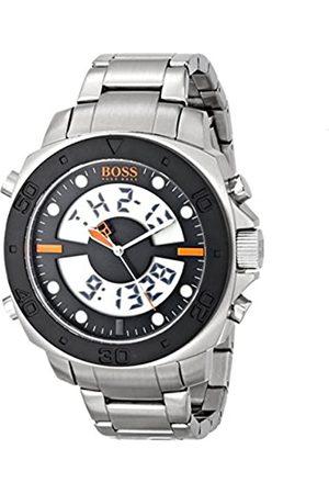 HUGO BOSS Hombre Relojes - Boss Orange Diver 1512843 - Reloj Digital de Cuarzo para Hombre, Correa de Acero Inoxidable Color (Alarma, cronómetro