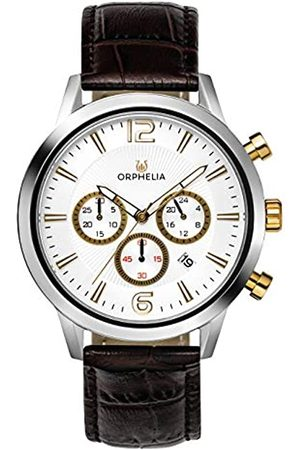 ORPHELIA Hombre Relojes - Reloj de Pulsera para Hombre cronógrafo Tempo Black Cuero