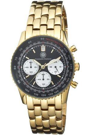 Constantin Durmont Admiral Black AdmBK - Reloj cronógrafo de caballero de cuarzo con correa de acero inoxidable dorada