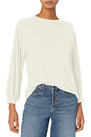 Daily Ritual Mujer Blusas - Rayon Spandex Wide Rib Blouson-Sleeve Sweatshirt Camisa