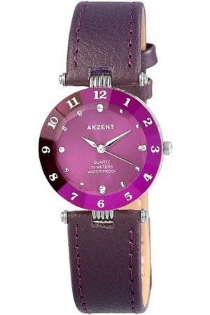 Akzent Mujer Relojes - SS7323900014 - Reloj analógico de mujer de cuarzo con correa de piel lila - sumergible a 30 metros