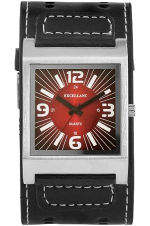 Excellanc 195025000112 - Reloj analógico de caballero de cuarzo con correa de piel negra
