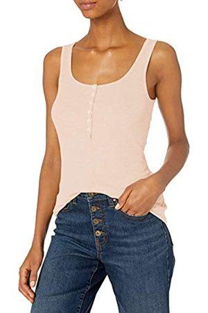Daily Ritual Mujer Blusas - Rayon Spandex Fine Rib Henley Tank Shirts