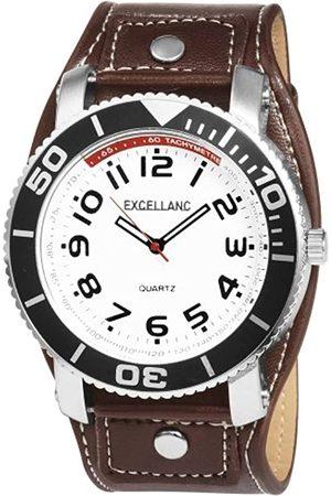 Excellanc 295022000015 - Reloj analógico de caballero de cuarzo con correa de piel