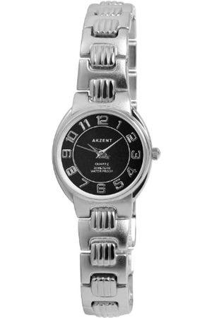 Akzent SS7121000065 - Reloj analógico de mujer de cuarzo con correa de aleación plateada - sumergible a 30 metros