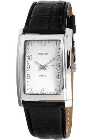 Excellanc 298222500003 - Reloj analógico de caballero de cuarzo con correa de piel negra