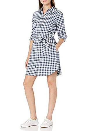 Goodthreads Brushed Flannel Shirt Dress Button-Down-Shirts, Deep Blue/Off White Mini Buffalo Plaid