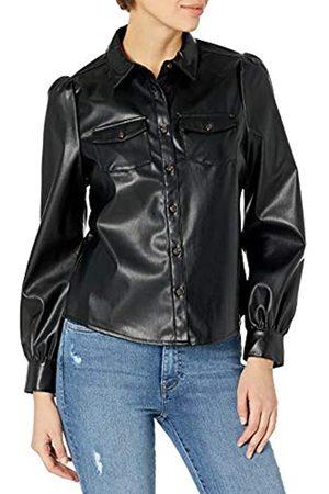 THE DROP Mujer Cintura alta - Blusa para Mujer, Clemence, tipo Utility de Piel Sintética con Manga Larga Abullonada