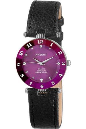 Akzent SS7323800014 - Reloj analógico de mujer de cuarzo con correa de piel negra - sumergible a 30 metros