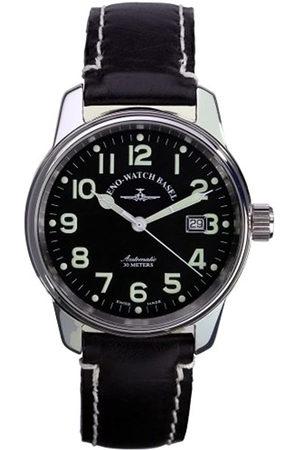 Zeno Pilot Classic 6554-a1 - Reloj de caballero automático con correa de piel negra