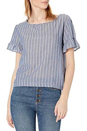 Goodthreads Cotton Dobby Flutter-Sleeve Woven tee Fashion-t-Shirts, Doble Rayas índigo/