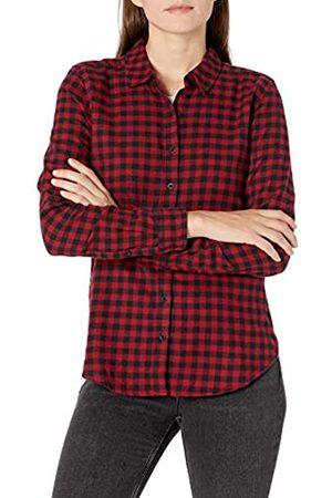 Goodthreads Mujer Blusas - Brushed Flannel Drop-Shoulder Long-Sleeve Shirt Button-Down-Shirts, Black/Deep Red Mini Buffalo Plaid