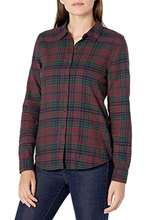 Goodthreads Brushed Flannel Drop-Shoulder Long-Sleeve Shirt Dress-Shirts, Burgundy/Deep Emerald Grid Plaid