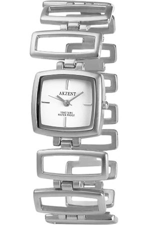 Akzent SS7122000075 - Reloj analógico de mujer de cuarzo con correa de aleación plateada - sumergible a 30 metros