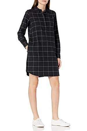 Goodthreads Brushed Flannel Popover Dress Shirts, Off-white/Black Windowpane Plaid