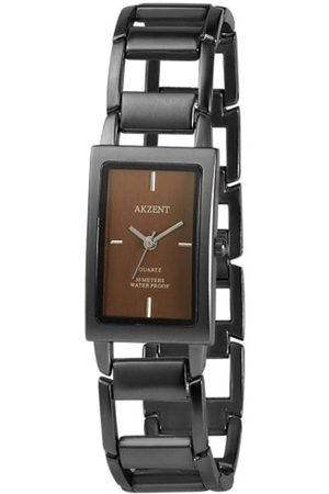 Akzent SS7177000081 - Reloj analógico de mujer de cuarzo con correa de aleación negra - sumergible a 30 metros