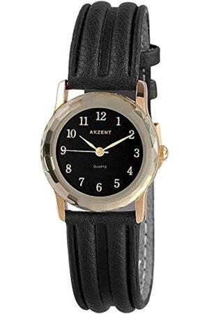 Akzent Mujer Relojes - SS7301400013 - Reloj analógico de mujer de cuarzo con correa de piel negra - sumergible a 30 metros