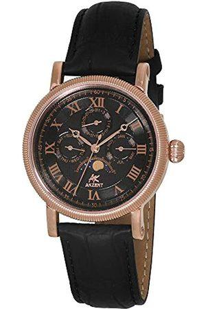 Akzent Hombre Relojes - 352531029001 - Reloj analógico de caballero de cuarzo con correa de piel negra