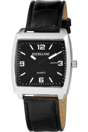 Excellanc 292021000188 - Reloj analógico de caballero de cuarzo con correa de piel negra