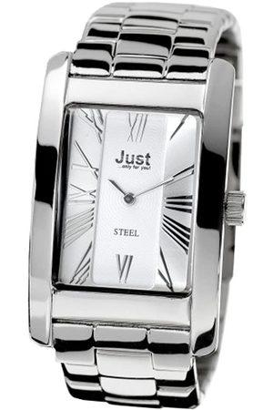 Just Uhren 48-S5214A-WH - Reloj analógico de caballero de cuarzo con correa de acero inoxidable plateada