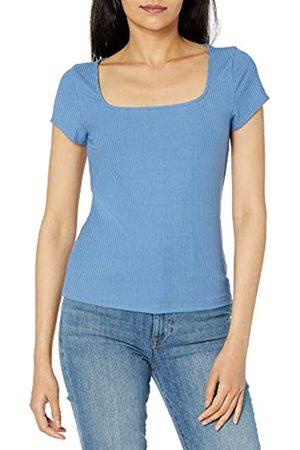 The Drop Mujer Camisetas y Tops - Anne Top Entallado en Punto Acanalado con Escote Cuadrado y Manga Casquillo