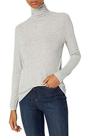 Daily Ritual Mujer Blusas - Rayon Spandex Fine Rib Long-Sleeve Layering Turtleneck Shirts XS