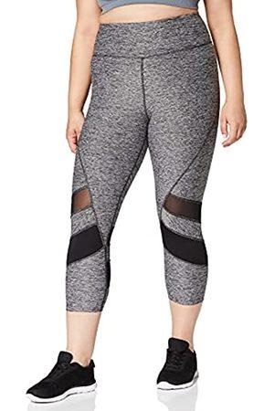AURIQUE Mujer Leggings - Amazon Brand - Leggings deportivos capri con paneles para mujer, (Grey Marl/Black), 42