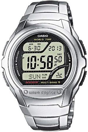 Casio Hombre Relojes - WAVE CEPTOR Reloj Radiocontrolado, Caja de acero inoxidable y resina, Negro, para Hombre, con Correa de Acero inoxidable