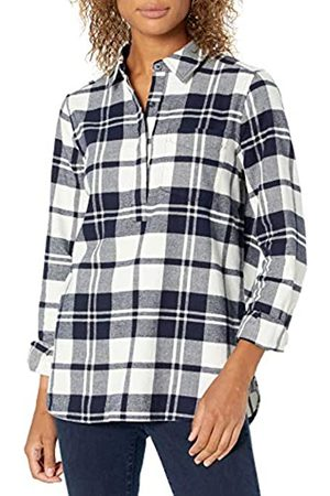 Goodthreads Mujer Blusas - Brushed Flannel Popover Shirt Button-Down-Shirts, Navy Oversize Check