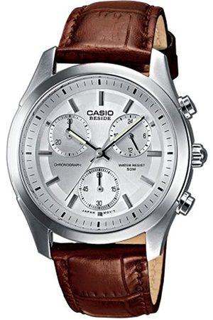 Casio Hombre Relojes - BEM-503L-7AVEF - Reloj cronógrafo de caballero de cuarzo con correa de piel (cronómetro) - sumergible a 50 metros
