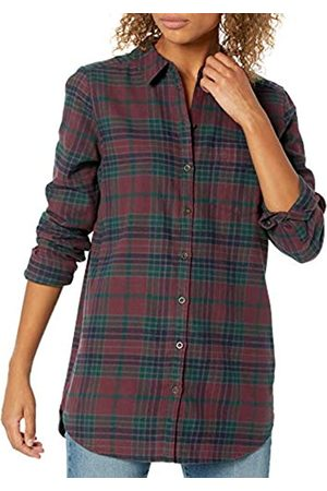 Goodthreads Brushed Flannel Boyfriend Tunic Button-Down-Shirts, Burgundy/Deep Emerald Grid Plaid