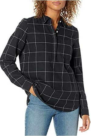 Goodthreads Mujer Casual - Brushed Flannel Popover Shirt dress-shirts, Off-white/Black Windowpane Plaid