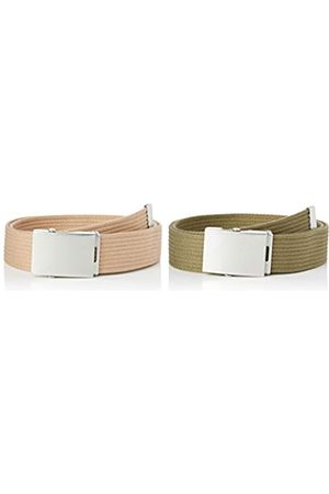 FIND Marca Amazon - Cinturón de Tela Hombre, Pack de 2, M