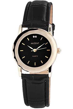 Akzent SS73014000012 - Reloj analógico de mujer de cuarzo con correa de piel negra - sumergible a 30 metros