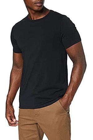 MERAKI Marca Amazon - Camiseta Interior con Cuello Redondo Hombre, Pack de 4 (Black), XS