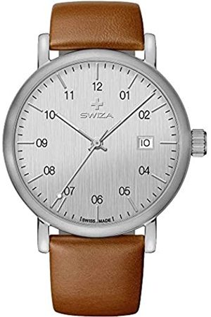 Swiza Hombre Relojes - AlzaRonda515-RelojdePulsera(MecanismodeCuarzoSuizoAceroInoxidable316LCristalMineralRevestimientodeZafiroPieldeTernero)