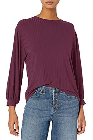 Daily Ritual Mujer Blusas - Rayon Spandex Wide Rib Blouson-Sleeve Sweatshirt Athletic-Shirts