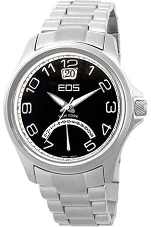EOS NEW YORK 15STSILBLK - Reloj de caballero de cuarzo con correa de acero inoxidable negra