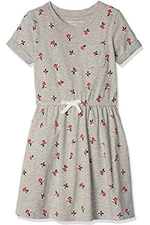 Amazon Girls' Short-Sleeve Elastic Waist T-Shirt Dress Playwear, Heather Grey Floral