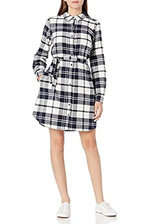 Goodthreads Mujer Casual - Brushed Flannel Shirt Dress button-down-shirts, Navy Oversize Check